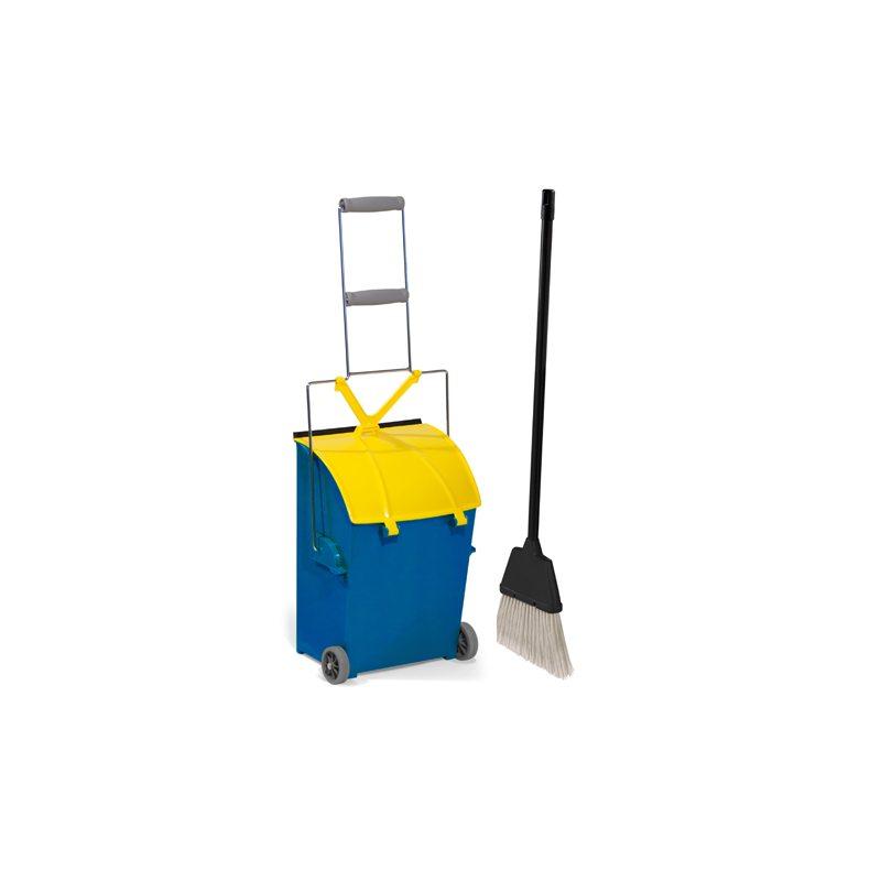 Zestaw do zamiatania z śmietniczką na kółkach i pokrywą